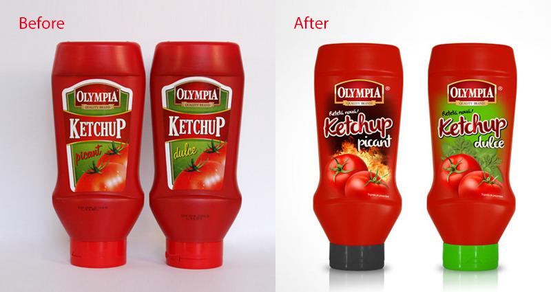 design ambalaj before and after ketchup